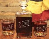 Personalized Whiskey Decanter Set with 2 glasses YOURS, MINE, OURS, Engraved Barware, Wedding Gifts, Home Bar, Man Cave