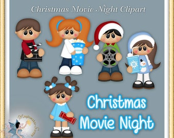Holiday Clipart, Christmas Movie Night