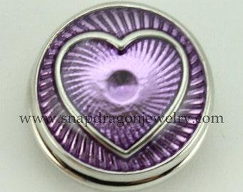 Purple Heart SNAP Jewelry - Snapdragon Jewelry, Noosa Chunk, Popper, Button, Charm