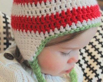 Baby Christmas Hat, Toddler Christmas Hat, Christmas Hat- Red and White Striped Earflap Hat