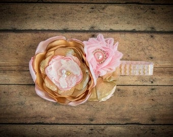 Light Pink and Gold Flower Headband