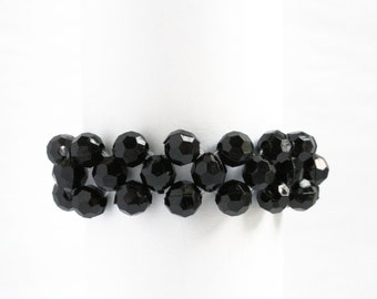 Black napkin rings - onyx napkin rings - beaded napkin rings  jet black beads  dining accessories dining table accessories - serviette rings