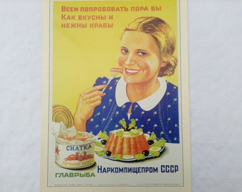Vintage 1930 print of USSR poster Eat Crab 41 cm by 29 cm