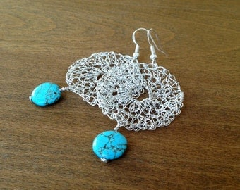 Silver crochet wire earrings with turquoise beads.Handmade  wire crochet dangle earrings. Handmade wire crochet jewelry.