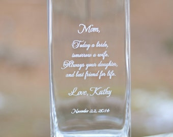 Mother of the Bride/Groom Etched Vase with FREE personalization