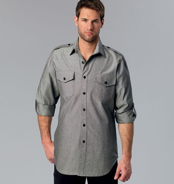 Sewing Pattern Mens Button Down Dress Or Casual Shirts With