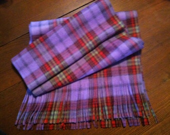 Lavendar Red and Lime Plaid Blizzard Fleece Fringed Scarf