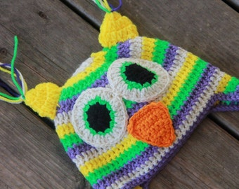 Yellow Owl Hat with Ear Flaps