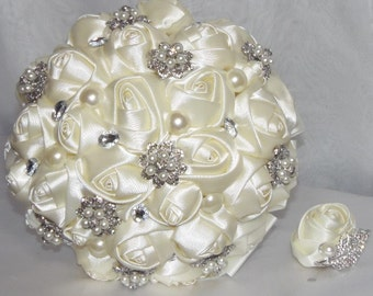 Bridal Brooch Bouquet, Made to Order Satin Ribbon Roses, Pearl Wedding Flowers,Bridesmaid's bouquet, No deposit,