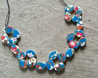 Blue flower Japanese paper woven necklace