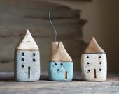 Set Of Three Miniature Cob Houses - Hand Sculpted Clay Houses - Rustic - Ready to ship