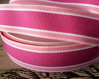 "3 yard 7/8"" Preppy Berry Pink and White STRIPE Grosgrain Ribbon"
