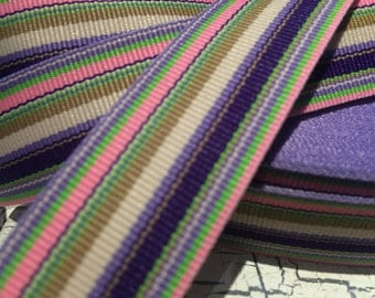 "3 Yards 7/8"" Preppy SPRING EASTER PURPLE Multicolored Stripe Grosgrain Ribbon sold by the yard"
