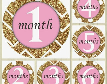 First Year Monthly Pink and Gold Glitter-Like Chevron Circle Stickers ~ Monthly Milestone ~ Monthly Circle ~ Monthly Sticker