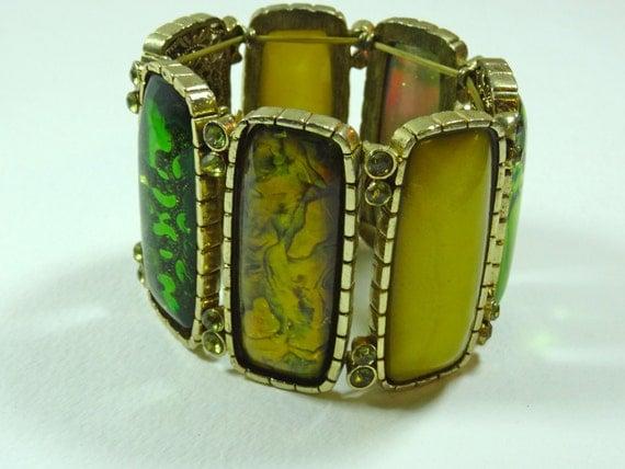Vintage elastic adjustable multi green color Bracelet