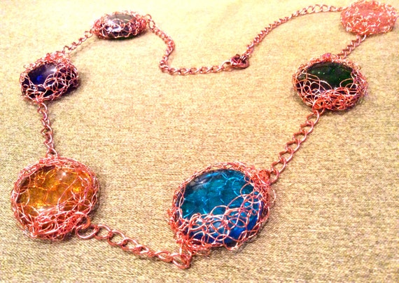 Handmade glass cabochon and wire crochet necklace with copper chain