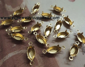 10mm x 5mm brass navette shaped prong closed back 2 ring loop connector settings 18 pcs per lot