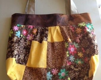 Handmade Brown Patchwork Shoulder Bag