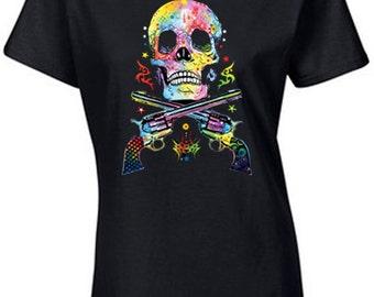 Skull & Guns Neon T-Shirt   Neon and Black Light T-Shirts   U.S. Custom Ink