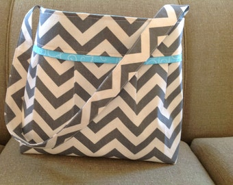 The Heather large grey and blue chevron Diaper Bag, diaper bag large, chevron,