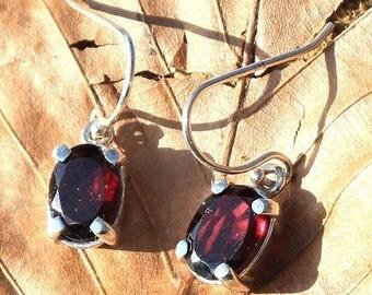 Faceted red Garnet Sterling Silver Earrings Cut Gem gemstone Almandine Modern Jewellery Jewelry