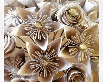 Paper Flower Bridal Bouqets
