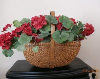 Red Geranium Basket