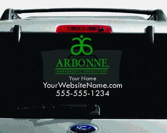 SALE- Arbonne Dual-Color Logo Car Decal with Custom Name, Website, etc.