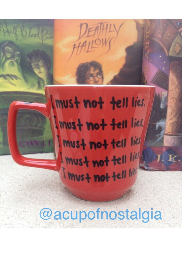 Ready to ship 16oz i must not tell lies red harry potter for I must not tell lies tattoo