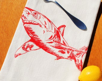 Tea Towel - Red Shark Organic Cotton Tea Towel - Unique Wedding Gifts for Couple or House Warming Gifts - Screen Printed Nautical Theme