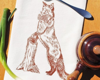 Chestnut Fox Tea Towel - Screen Printed Flour Sack Towel - Eco Friendly Kitchen Towel - Dishcloth - Birthday Gift Wedding Gift - Brown Fox