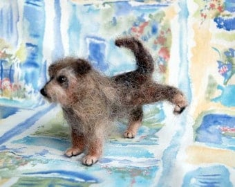 Needle Felted Dog Sculpture, Terrier Mixed - CJ