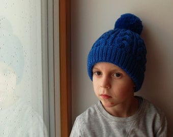 READY TO SHIP all sizes. Royal Blue Hand Knit hat for kids, teens/ adults. Cable knit pom pom beanie with (out) ear flaps. More colors
