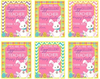 Printable easter gift tags happy easter you make me hoppy printable easter teacher tag you are an eggcellent teacher happy easter instant download negle Image collections