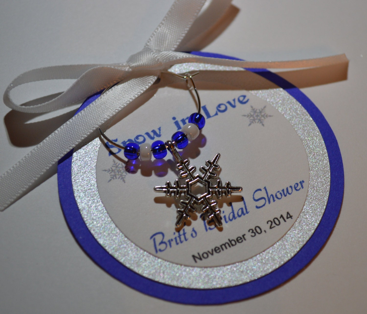 Winter Wedding Wine Charm Favors Snowflakes Personalized