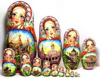 Nesting Doll 15 pcs,Moscow Kremlin doll,13 in 35cm. Matryoshka,Russian doll, matryoshka doll, Nested doll – Moscow rhinestones