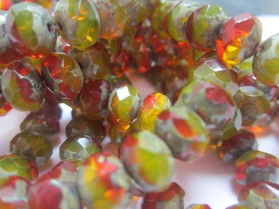 Olive Green Czech Glass Rondelle Beads Red Orange Yellow