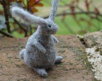 Needle Felt Easter Rabbit, Handmade,Bunny,Hare,Woodland,Needlefelt,Animal,Soft Sculpture,OOAK,Gardening,Miniature,Easter