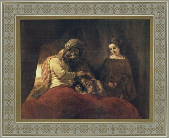 """Large Christian print of oil painting by Rembrandt in 17th century, """"Jacob Blessing Sons of Joseph"""", decorative gilt and grey border, 1950s"""