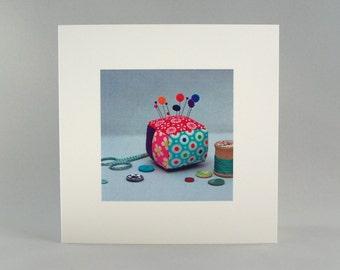 Greeting card, blank greeting card, textile art card, paper goods, pincushion
