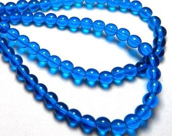 6mm Capri Blue Czech Beads, Blue Beads, Capri Blue Beads, Transparent Beads, 6mm Round Beads, 6mm Glass Beads, 6mm Czech Beads T-011B