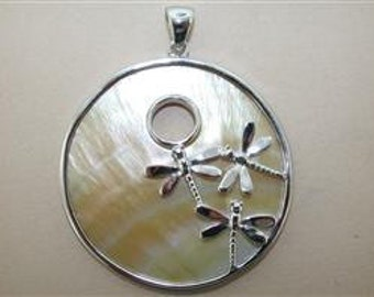 Mother of Pearl and sterling sliver dragonfly large pendant