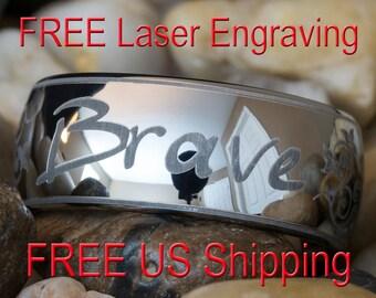 10mm Dome Tungsten Carbide Brave Design-Free Inside Engraving