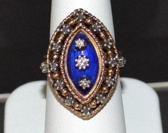 VINTAGE 18K Gold, Enamel and Rose Cut Diamond Ring