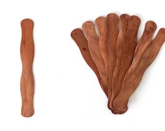250 Cherry Stained Wooden Fan Handles for Wedding Programs - Wavy Fan Sticks