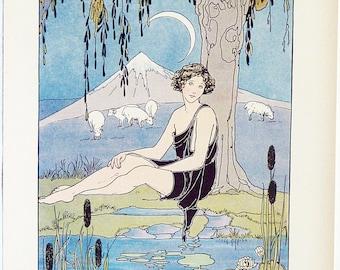 Original 1926 Margaret Evans Price Children's Illustration Mythology Print of Endymion, Wall Art Full Color Lithograph