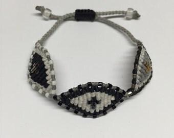 Triple eye bracelet  - grey, white and black