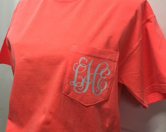 Monogrammed Comfort Color Pocket T-Shirt