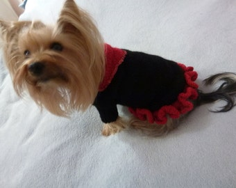 Hand knitted dog sweater/dess