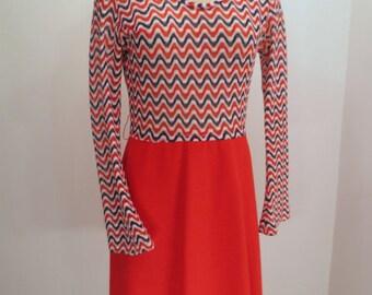 75% Off ESTATE SALE 1970s Vintage Dress, Red, White and Blue Lace Chevron dress, Lanc-ene by Elegant JRS Montreal, vintage designer clothing